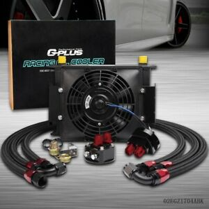 Universal 30 Row 10an Engine Transmission Oil Cooler Black 7 Electric Fan Kit
