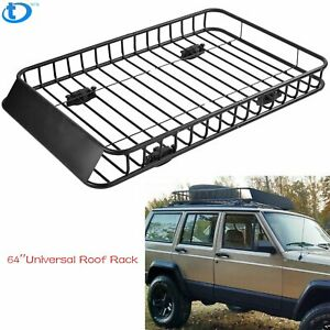 64 Roof Rack Cargo Top Luggage Holder Carrier Basket With Extension Travel New
