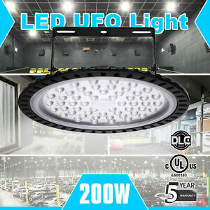 200w Ufo Led High Bay Light Warehouse Industrial Light Fixture 20000lm 6000k Us