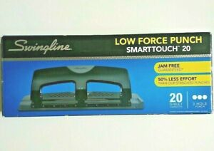 Swingline Smarttouch Low Force 20 Sheet Capacity 3 Hole Paper Punch Jam Free