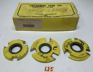 Freeborn Tool T alloy Tipped Shaper Cutter Shaping Cutting 1 1 4 Bore Set Of 3