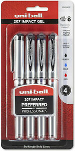 Uni ball 207 Impact Gel Pens Bold Point 1 0mm Assorted Colors 4 Count New