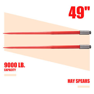 Pair Of 49in Hay Bale Spikes With 4500lb Capacity For Truck Tractor Bobcat More