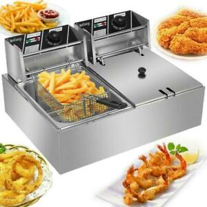 5000w Electric Countertop Deep Fryer Dual Tank Commercial Restaurant 12 Liter