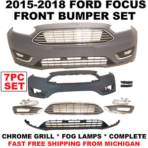 2015 2016 2017 2018 Ford Focus Front Bumper Upper Lower Fog Lamps Chrome Grill