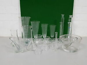 17x Lab Glassware Pieces Pestle Mortars Pouring Flasks Beakers Filters Glass
