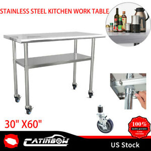 Stainless Steel 30 X60 4 Casters Commercial Kitchen Prep Work Table Restaurant