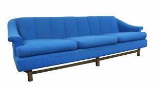 Mid Century Danish Modern Blue 3 Seater Sofa On Wood Base