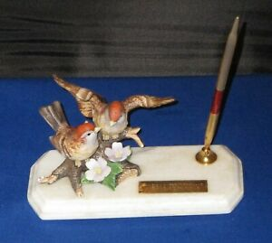 Mid Century Desk Set Pen Holder Marble Sparrows