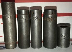 Lot Of 5 Pcs 1 2 3 8 6 Point Impact Sockets Mac Tools Made In Usa