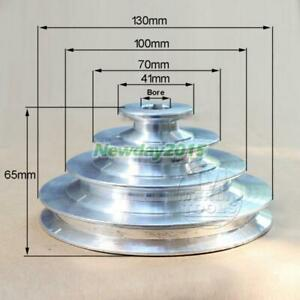 Od 130mm 4 Step Pulley 16mm Bore For 1 2 12 7mm Belt Width Cast Aluminum