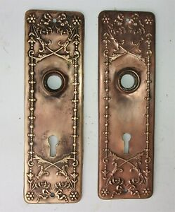 Pair Antique Victorian Art Nouveau Ornate Door Plate Backplate Reclaimed Salvage