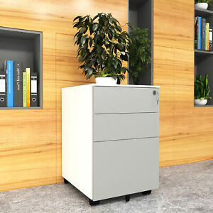 Yitahome 3 drawer Mobile File Cabinet Home office Storage With Keys Wheels