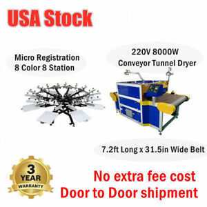 8 Color 8 Station Micro Registration Screen Printing Press conveyor Tunnel Dryer
