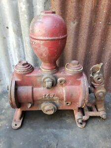 Cast Iron Red Jacket Hand Pump For Steam Engines Tractors Original Paint Label