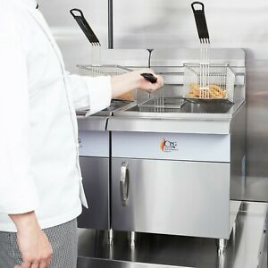 30 Lb Natural Gas Commercial Restaurant Stainless Steel Countertop Deep Fryer
