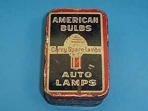 Vintage American Accessories Stores Emergency Auto Lamp Bulbs Kit Tin Container