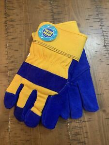 Blue And Yellow Mens Waterproof Insulated Warm Winter Work Gloves Size Large