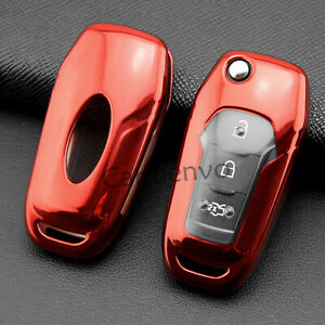 Red Flip Car Key Chain Case Full Wrapped Cover For Ford Explorer Ecosport F 150