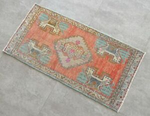 Vintage Distressed Small Area Rug Hand Knotted Oushak Rugs Yastik 1 8 X3 4