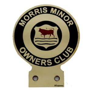 Vintage Morris Minor Owners Car Club Heavy Brass Enamel Front Grill Badge Cad