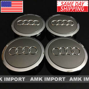 4x Pc Gray Wheel Rim Replacement Center Hub Caps For Audi 69mm 4b0601170a Chrome