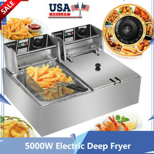 Commercial Restaurant Electric 12l Deep Fryer Double Cylinder Timer Drain net