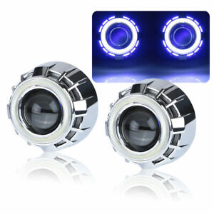 2 5 Bixenon Hid Projector Lens White Blue Dual Led Angel Eye Headlight Retrofit