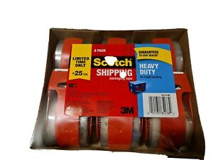 3m Scotch Clear Shipping Packing Tape Limited 25 Yds 6 Rolls W dispenser New
