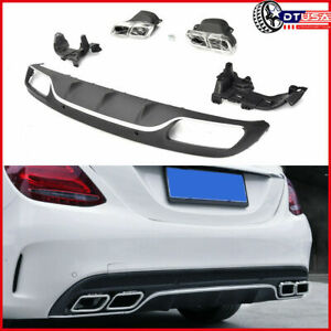 Chrome Amg Bumper Diffuser 4 Outlet Tips For Mercedes Benz W205 C200 C300 14 18