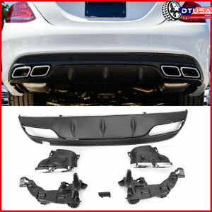 Amg Bumper Diffuser Chrom 4 Outlet Tips For Mercedes Benz W205 C200 C300 14 18