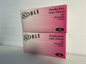 2 Box X large Noble Powder free Disposable Latex Gloves 200pc
