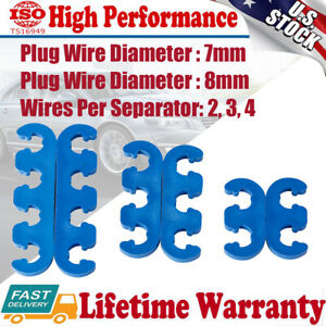 1 Set 7mm 8mm Blue Spark Plug Wire Separators Dividers Looms For Chevy Ford 9877