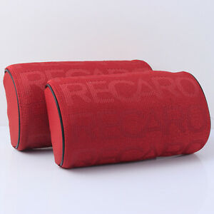 2pcs Recaro Red Fabric Headrest Pillow Supports Racing Neck Rest Seat Material