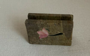Brown Tan Marble Business Card Recipe Card Holder India Pink Inlay Flower