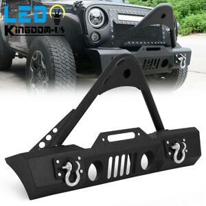Stubby Powder Coated Front Bumper With Stinger For 2007 2018 Jeep Wrangler Jk