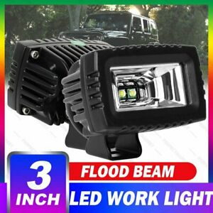 2x 3inch Led Work Lights Driving Pods Spot Cube For Jeep 4wd Reverse Offroad