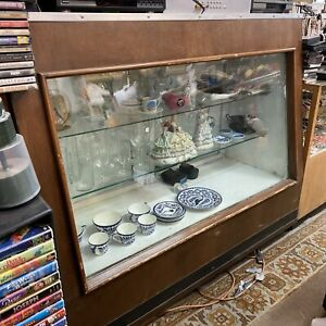 Vintage Retail Glass Display Case Full Vision Wood 6 Showcase