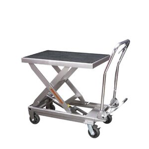 Rolling Table Cart 1000lbs Capacity Hydraulic Cart W foot Pump Dolly Heavy Duty