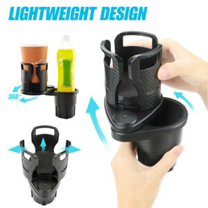2 In 1 Car Seat Cup Holder Dual Cups Mount Extender Organizer 360 Rotating Base