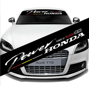 Car Front Rear Windshield Badge Reflective Banner Decal Sticker For Power Honda