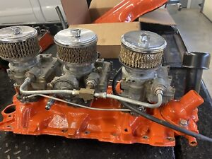 348 Chevy Tri Power Can Be Made To Fit 409 Rebuilt Carbs Running And Sorted