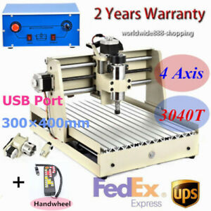 4axis Router Engraver 3040 Cnc Engraving 3d Cutting Milling Machine 400w Usb rc