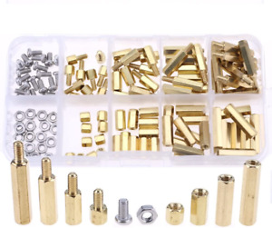 120pcs M3 Male Female Brass Spacer Standoff Screw Nut Assortment Kit