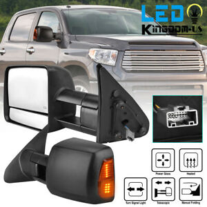 Pair Power Towing Mirrors For 07 17 Toyota Tundra Sequoia W Heated Turn Signal