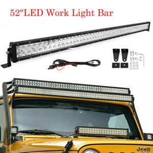 52 Led Light Bar Offroad Lamp Free Wiring Kit Fit For 2018 Jeep Wrangler Jl