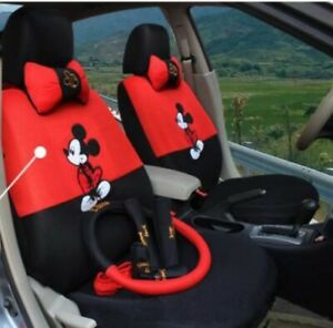 12 Pcs Mickey Mouse Car Seat Cover Universal Cartoon Interior Accessories Style