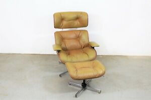 Mid Century Modern Selig Eames Style Leather Lounge Chair Ottoman