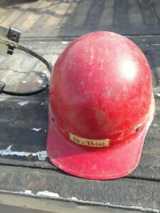 Vintage Hard Boiled Fiberglass Hard Hat Safety Helmet With Wilson Face Shield