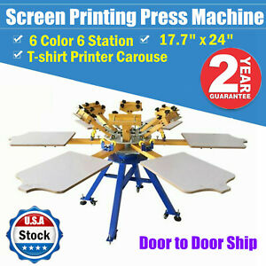 6 Color 6 Station Screen Printing Press Machine T shirt Printer Carouse Usa